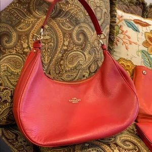 brand new red coach shoulder bag